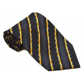 Cravata barbati, bleumarin, cu dungi oblice galben-orange 204