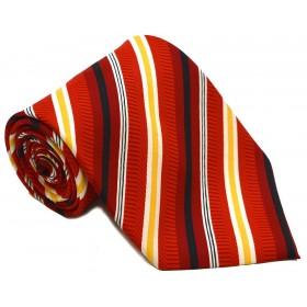Cravată barbați, roșie cu dungi oblice, albe, negre, mov și galbene