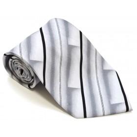 Cravata barbati alba cu model abstract gri si dungi oblice negre 220