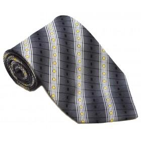 Cravata barbati argintie cu model abstract alb cu galben si dungi oblice negre 238