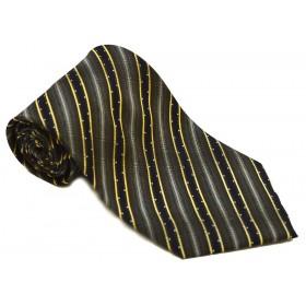 Cravata barbati maro cu dungi oblice negre si aurii 182