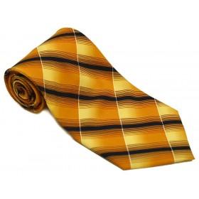 Cravata barbati mustar cu dungi oblice negre si albe 166