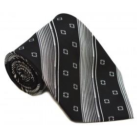 Cravata barbati neagra cu dungi oblice albe si patratele gri 226
