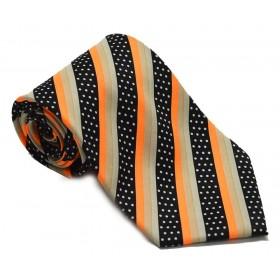 Cravata barbati neagra cu dungi oblice portocalii si buline albe 139