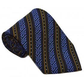 Cravata barbati neagra cu model abstract albastru si dungi oblice portocalii 231