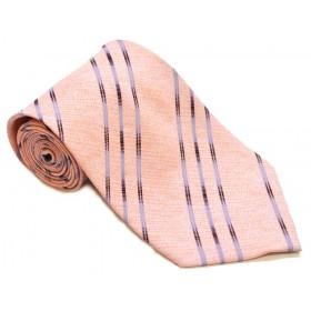 Cravata barbati piersica cu dungi oblice colorate 173