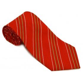 Cravata barbati rosie cu dungi oblice albe si negre 140