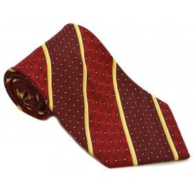 Cravata barbati rosie cu dungi oblice galbene si puncte albe 179