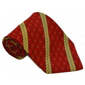 Cravata barbati rosie cu model abstract galben cu negru si patratele albe 232