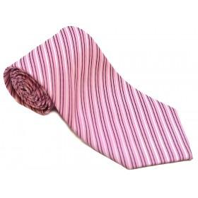 Cravata barbati roz cu dungi oblice albe negre 176