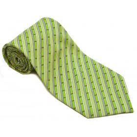 Cravata barbati verde cu dungi oblice negre si albe 157