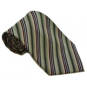 Cravata barbati verde cu dungi oblice negre albe si lila 184