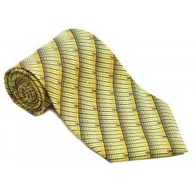 Cravata barbati verde cu dungi oblice negre si model abstract galben 151