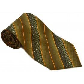 Cravata barbati verde cu dungi oblice portocalii 164