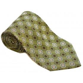 Cravata barbati verde cu flori albe puncte negre si portocalii 144