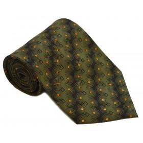 Cravata barbati verde cu model abstract negru cu portocaliu 237
