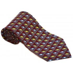 Cravata barbati visinie cu model abstract galben si albastru 160