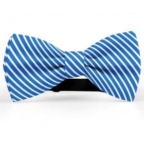 Papion butterfly, albastru-denim, imprimeu dungi albe inguste