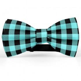 Papion barbati, negru-albastru acvamarin, model carouri