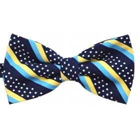 Papion albastru cu puncte albe si dungi oblice turcoaz si galbene