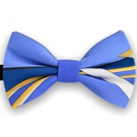 Papion butterfly, albastru electric, imprimeu dungi diverse grosimi
