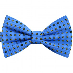 Papion albastru electric, buline galbene, butterfly