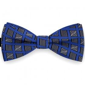 Papion barbati, albastru cobalt, forme geometrice, stilizate delicat