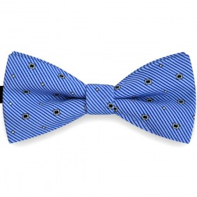 Papion albastru celest, clasic, dungi subtiri oblice