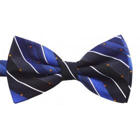Papion barbati albastru cu dungi oblice negre albe si patratele portocalii