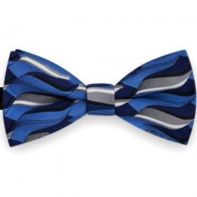 Papion barbati, albastru, clasic, imprimeu stilizat