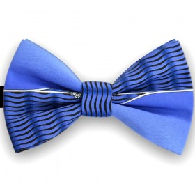 Papion barbati albastru persan, imprimeu valuri negre