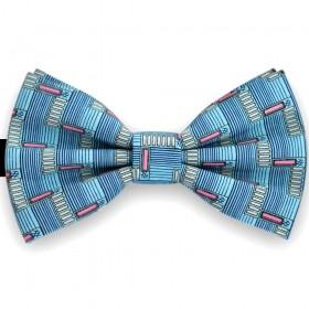 Papion barbati, albastru ceruleum, imprimeuri stil futurist