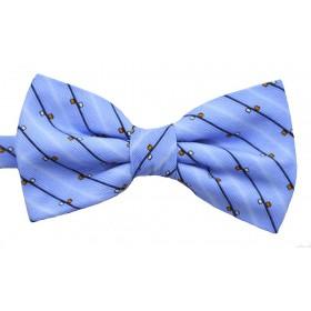 Papion bleu cu dungi oblice negre si patratele albe si portocalii