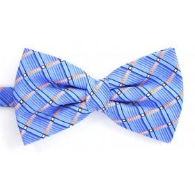 Papion albastru cu dungi oblice portocalii si bleu si patratele albe
