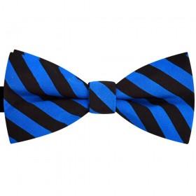 Papion barbati albastru primar, clasic, imprimeu dungi negre