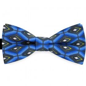 Papion barbati albastru denim, clasic, imprimeu romburi supradimensionate