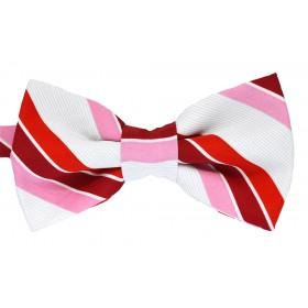 Papion alb cu dungi oblice rosii visinii si roz