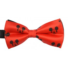 Papion rosu si negru, model Mickey Mouse
