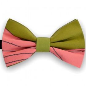 Papion bicolor, roz incarnat, verde gazon, imprimeuri linii curbate