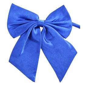 Papion dama, albastru uni, cu bentite late