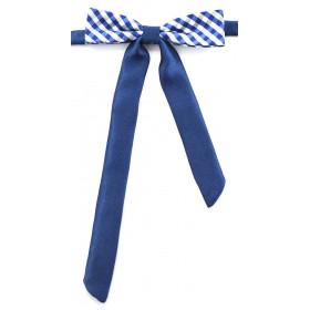 Papion dama in carouri alb cu albastru
