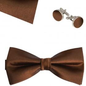 Set papion, butoni camasa, batista, maro uni, clasic