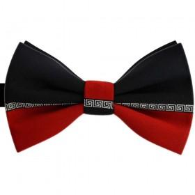 Papion barbati bicolor, negru, rosu caramiziu, imprimeu stil versace