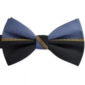 Papion barbati bicolor, negru, gri  payne, imprimeu stil Versace