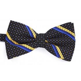 Papion negru cu dungi oblice albastre si galbene si punctulete albe si portocalii