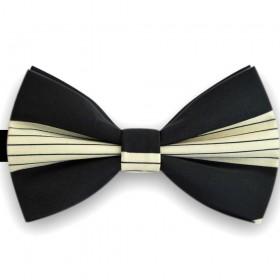 Papion bicolor, negru carbune, bej, imprimeu dungi orizontale