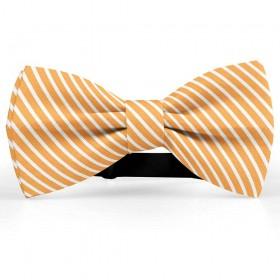 Papion butterfly, portocaliu-mandarina, imprimeu dungi albe inguste
