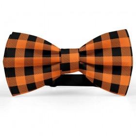 Papion barbati, negru-portocaliu morcov, model carouri