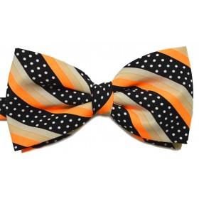 Papion portocaliu cu dungi oblice negre crem si buline albe
