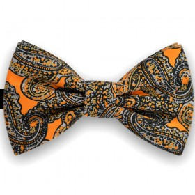 Papion barbati, portocaliu mandarina, imprimeu paisley